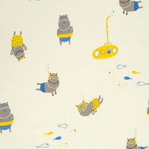 hippos diving on pale yellow jersey fabric