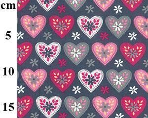 pink hearts on grey poplin