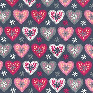 pink hearts on grey poplin