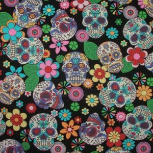 day of the dead candy skulls on black fabric