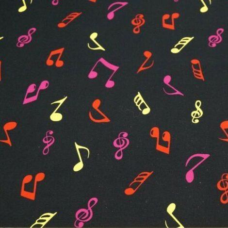 multi coloured musical notes on black poplin