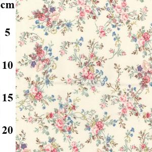 pretty floral design on ivory cotton poplin fabric