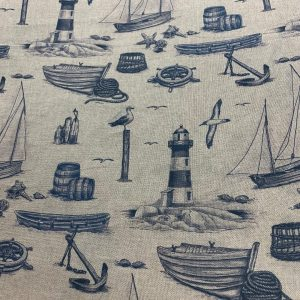 linen look indigo nautical print on ivory canvas