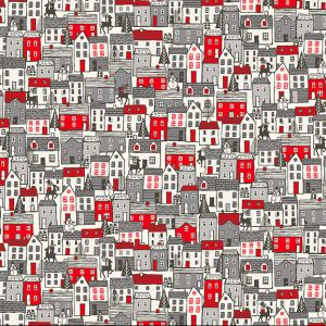 red and grey scandi houses print fabric