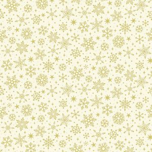 metallic gold snowflake print on cream background fabric